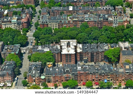 Aerial View of the Back Bay in Boston, MA, USA