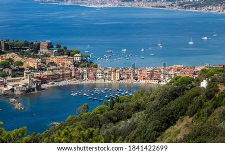 Aerial view of the 'Baia del Silenzio' (Bay of Silence) in Sestri Levante, Ligurian coast, Genoa province, Italy. Stock photo ©