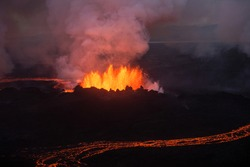Aerial view of the 2014 Bardarbunga eruption at the Holuhraun fissures, Central Highlands, Iceland