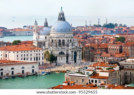 Aerial view of the Basilica of Santa Maria della Salute in center of Venice, Italy