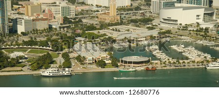 Aerial View of the Bayside Shopping Mall in Miami, Florida