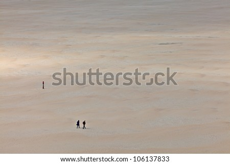 Aerial view of the beach on Texel, a small Dutch island in the Wadden Sea