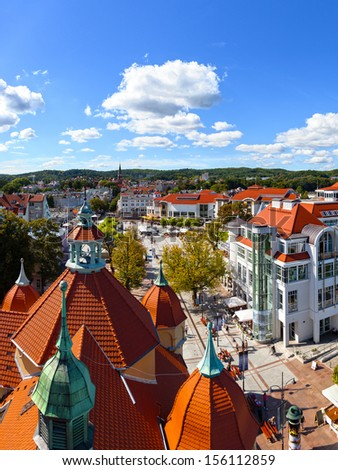 Aerial view of the beautiful architecture of Sopot, Poland.