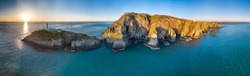 Aerial view of the beautiful cliffs close to the historic South Stack lighthouse on Anglesey - Wales, United Kingdom