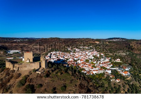 Aerial view of the Belver Castle (Castelo de Belver) and village in Portugal; Concept for travel in Portugal