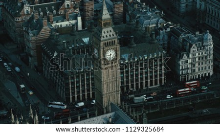Aerial View of the Big Ben and the Palace of Westminster at the capital city of London in the United Kingdom #1129325684