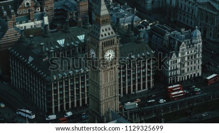 Aerial View of the Big Ben and the Palace of Westminster at the capital city of London in the United Kingdom #1129325699