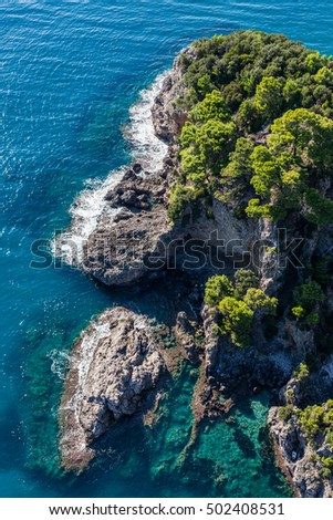 aerial view of the blue water coast line in Greece #502408531