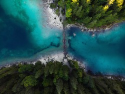 Aerial view of the bridge leading over Lake Eibsee in Bavaria, Germany