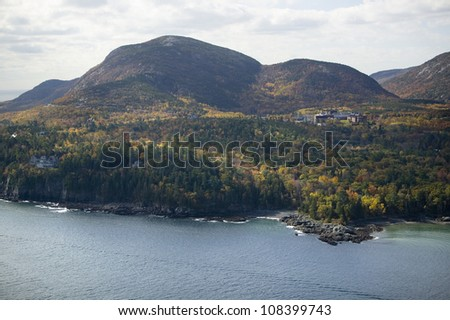 Aerial view of the Cadillac Mountain, Acadia National Park, Maine