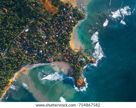 Aerial view of the cape of town of Weligama. Sri Lanka