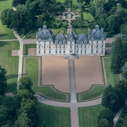 aerial view of the castle of Cheverny in France
