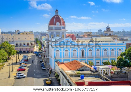 aerial view of the central square of the Cuban city stock photo