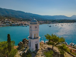 Aerial view of the chapel on the island of Poros. Greece in the summer