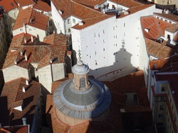 Aerial view of the Church of San Marcos and the shadow of the cupola. Madrid. Spain.