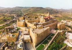 Aerial view of the Citadel - Capital City of Gozo. Victoria city, Malta