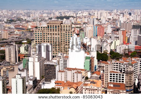 aerial view of the city center of sao paulo