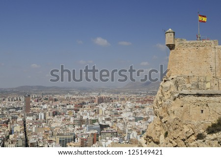 Aerial view of the city of Alicante from the castle fortress of Santa Barbara. Facing the Mediterranean Spanish east of this city and major tourist attraction for its dry and sunny climate. Spain - stock photo
