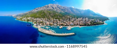 Aerial view of the city of Baska Voda in the summer, Croatia Stock fotó ©