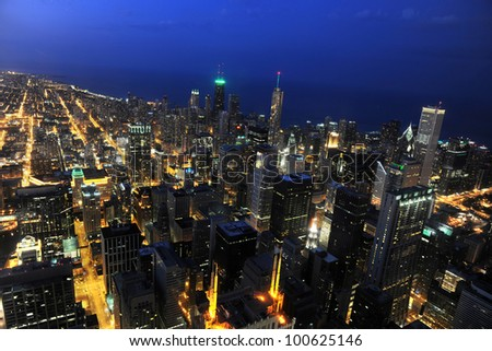 Aerial view of the city of Chicago at dusk