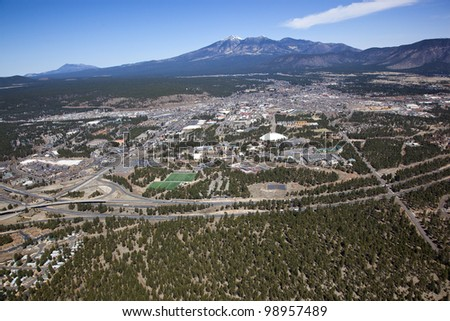 Aerial view of the City of Flagstaff, Arizona and Interstate 40 in the foreground