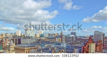 Aerial view of the city of Glasgow, Scotland