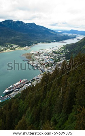 Aerial view of the city of Juneau, Alaska