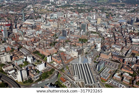 aerial view of the city of Manchester view from Piccadilly Station, UK