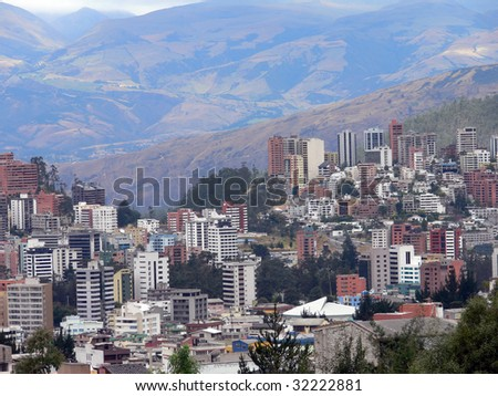 Aerial view of the city of Quito in Ecuador