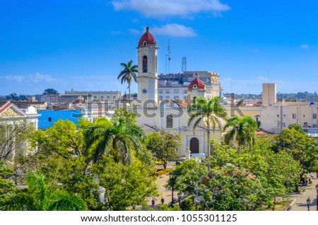 aerial view of the city of Santiago, Cuba stock photo