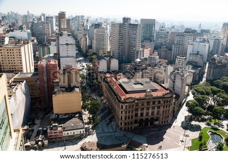 Aerial view of the city of sao paulo. Detail Anhangabau Valley and post office building.