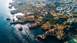 Aerial view of the coast Algarve, Portugal. Concept for above beach of Portugal. Summer vacations