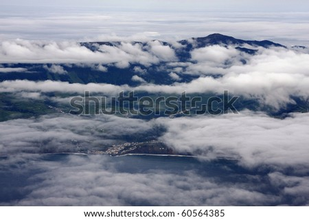 Aerial view of the coastline and mountain of Sao Miguel Island (Azores, Portugal).