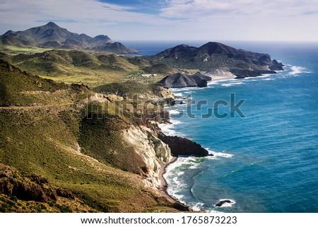 Aerial view of the coastline at Cabo de Gata-Nijar Natural Park, Almeria, Andalusia, Spain Stock fotó ©
