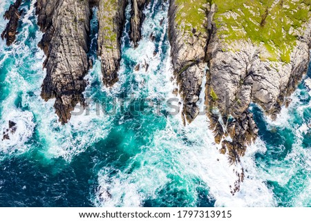 Aerial view of the coastline at Malin Head in Ireland.