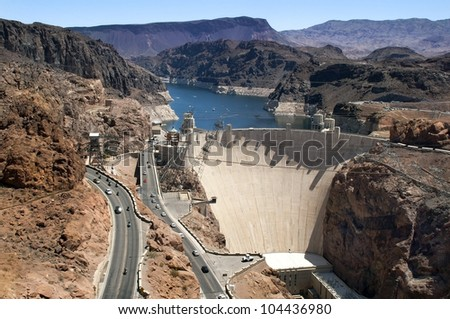 Aerial view of the Colorado River and Hoover Dam, a snapshot taken from a helicopter on the border of Arizona and Nevada, USA - stock photo