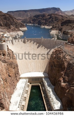Aerial view of the Colorado River and Hoover Dam, a snapshot taken from a helicopter on the border of Arizona and Nevada, USA