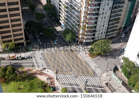 aerial view of the crossing streets in sao paulo