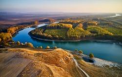 aerial view of the Danube river shore in summer, Dobrogea, Romania