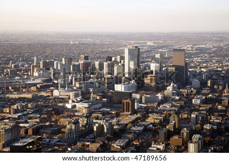 Aerial view of the Denver Colorado cityscape on a hazy day. Horizontal shot.