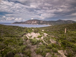 Aerial view of the derelict buildings of the ancient silver mine at Argentella near Galeria in Corsica