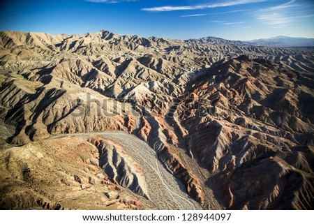 Aerial view of the desert landscape of Arizona