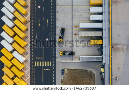 Aerial view of the distribution center, drone photography of the industrial logistic zone. ストックフォト ©