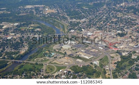 aerial view of the downtown area near the Grand River with view of the Casino and Water park in Brantford Ontario, Canada