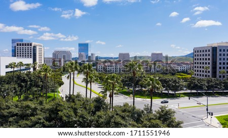 Aerial view of the downtown Irvine, California skyline. Foto stock ©