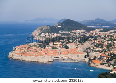 Aerial view of the Dubrovnik old city in Croatia