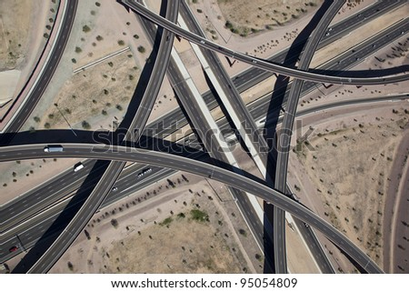 Aerial view of the East Mesa Interchange at the Loop 202 and Superstition Freeways