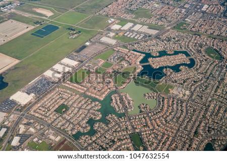 Aerial view of the Elk Grove area, Sacramento County, California