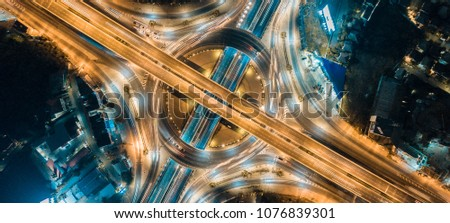 Aerial view of the expressway, motorway and highway in circle