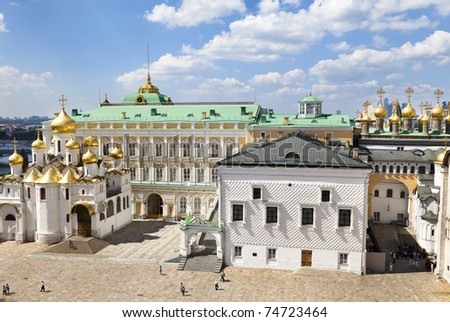 aerial view of the Faceted Chamber and the Annunciation Cathedral, Moscow Kremlin, Russia